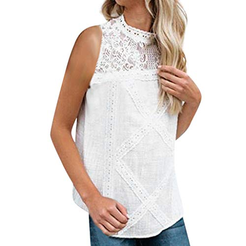 - 2019 Women's Sexy Lace Patchwork Sleeveless Plus Size Summer Casual Tank Tops Tank Shirt New Blouses by QIQIU White