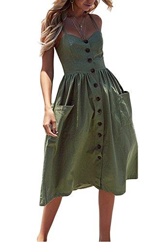 Women's Sundress Summer Flowy Button Down Spahetti Strap Midi Dress with Pockets (XXL, Green)