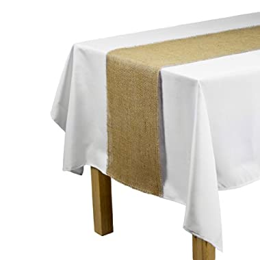 LinenTablecloth Jute Table Runner with Fringe Edge, 12.5 by 120-Inch