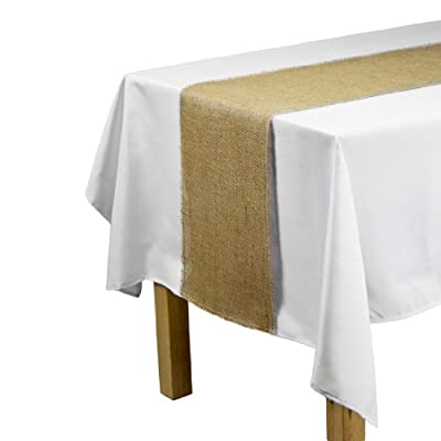 LinenTablecloth Jute Table Runner with Fringe Edge, 12.5 by 120-Inch - 12.5 inch in width by 120 inch in length Features finished sewn edging Material: Burlap fabric; Made from 100% natural jute fiber - table-runners, kitchen-dining-room-table-linens, kitchen-dining-room - 410YrLBbCnL. SS400  -