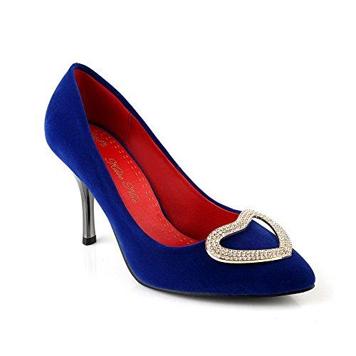 AllhqFashion Mujeres Sólido Tacón de aguja Sin cordones De salón con Ornamento Metal Azul