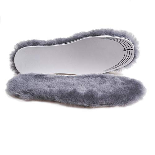 APELPES Cut-to-fit Wool Insoles, Cozy & Fluffy Premium Sheepskin Insoles Fleece Inserts (Gray, Women's 5-10) ()