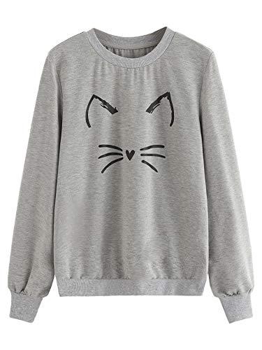 Top 10 Halloween Anime (ROMWE Women's Cat Print Sweatshirt Long Sleeve Loose Pullover Shirt Grey)