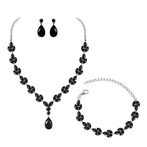 - YSOUL CZ Rhinestone Necklace Earrings Bracelet Jewelry Set for Prom Wedding Bridal Bridesmaid (Black)