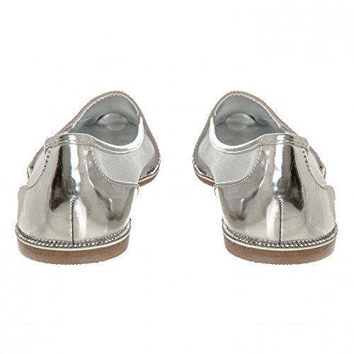 Miss Antidérapant Chaussures Pour En Sur Diva Maille Côtés Avec Diamante Femme Plat Argent rw0ZrqI