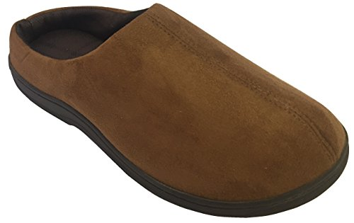 Microfiber Clog Suede (Dearfoams Mens Microfiber Suede Clog with Plaid Lining and Memory Foam Slippers (Medium (9-10), Chestnut))