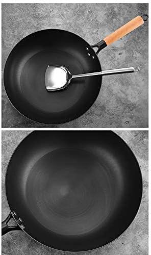 2 Sätze Gekochtes Eisenpfannenset Nicht Beschichtete Antihaftpfanne Nicht Rostige Wok-Suppentopf-Kochkombination Geeignet Für Induktionsherd-Gasherd Und Andere Öfen