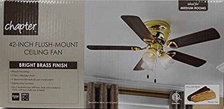 New chapter 42 3 light bright brass ceiling fan amazon new chapter 42quot 3 light bright brass ceiling fan mozeypictures Gallery