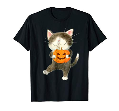 Cat Halloween Shirt Cat Costume Tee Pumpkin Jack-O-Lantern