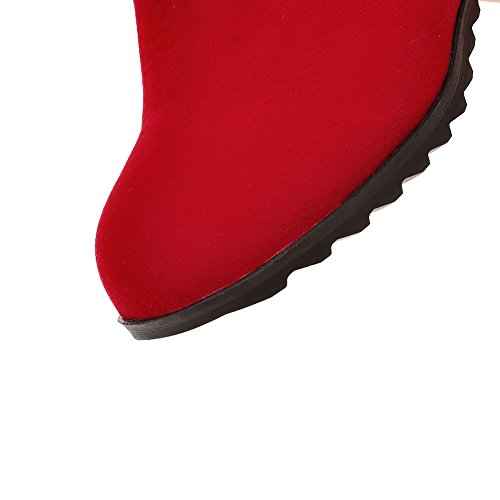 AgooLar Damen Mittler Absatz Rund Zehe Rein Reißverschluss Stiefel Rot