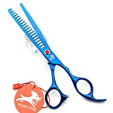 HappyDog 7.0 Inches Professional Pet Grooming Scissors Dog Thinning Scissors,Dog Grooming Chunkers 19 Teeth (Blue)