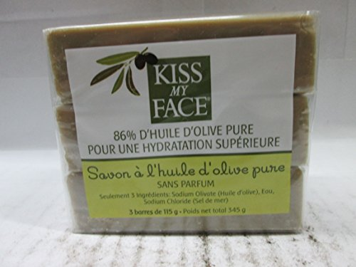 Soap Bar Olive (Kiss My Face Naked Pure Olive Oil Soap, Moisturizing Bar Soap, 4 oz Bars, 3 Count, 12 oz)