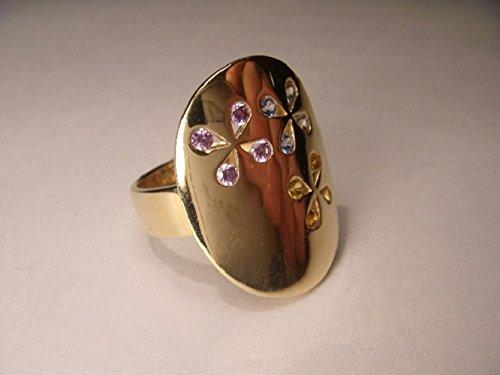Gorgeous Estate 14K Yellow Gold Designer Amethyst Citrine Topaz Ring (Gold Amethyst Estate Ring)
