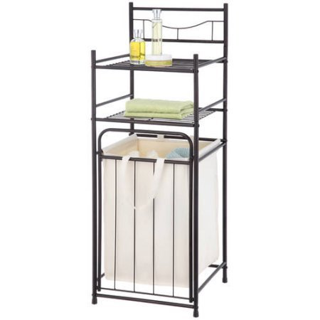 Mainstays Bathroom Tower with Hamper, Oil Rubbed Bronze | Made of steel Bathroom Tower with Removeable Hamper (Hamper With Shelf)