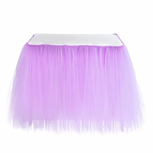 Lilac Tableware (Lisong Tulle TuTu Table Skirt Tableware Cover for Wedding Birthday Baby Shower Party Decoration Lilac)