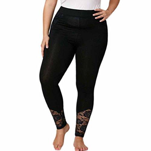 CICIYONER Mujeres Leggings Plus Size Lace Elastic Sport Pants Sport Pant Negro