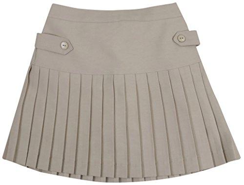 - ToBeInStyle Girl's Uniform Skirt Pleated Button Sides - Khaki - 6X