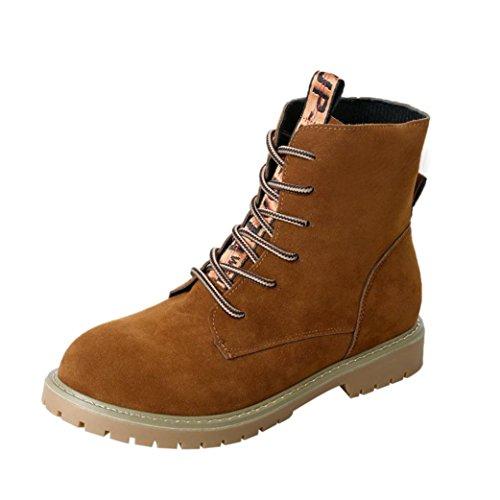 TPulling Herbst Und Winter Schuhe Mode Damen Herbstliche Mode Riemen Schnür-Plüsch Outdoor Booties Ankle Röhrenstiefeln Sportschuhe Martin Stiefel Braun