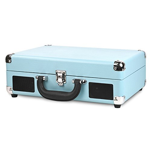 20s Roaring Collection (Innovative Technology Nostalgic 3-Speed Vintage Suitcase Turntable, Turquoise)
