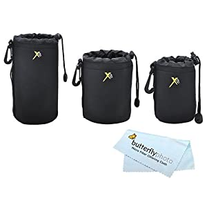 ButterflyPhoto Neoprene Soft DSLR Lens Pouch Case Kit For Canon Nikon Sony Pentax Olympus Panasonic and Blackmagic Pocket Cinema Camera Lenses (3 Pouches, S, M, L)
