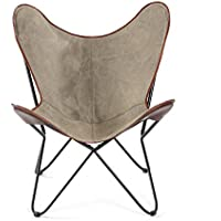Brevent Iron Butterfly Chair with Canvas Seat and Leather Trim