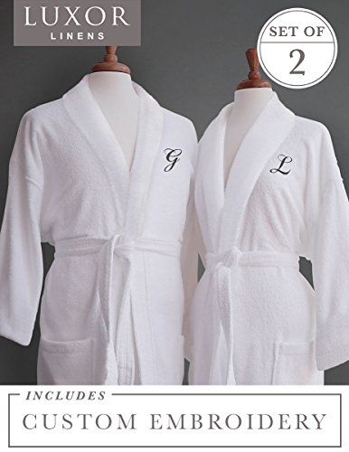 Luxor Linens Couple's Terry Cloth Bathrobe Egyptian Cotton Unisex/One Size Luxurious Soft Plush Elegant San Marco (Two Robes, Custom Monogram) ()