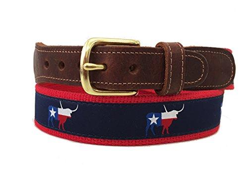 Preston Leather Navy Blue & Red Texas Flag Longhorn Ribbon Belt (38)