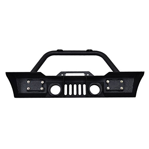 Goplus Front Bumper For 2007-2016 Jeep Wrangler JK With Hooks & Fog Light Hole