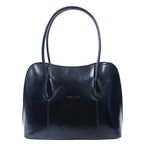Bag Womens Handbag Leather Vera Navy Pelle Italian Ladies Shoulder Handle Top zpfwqxz