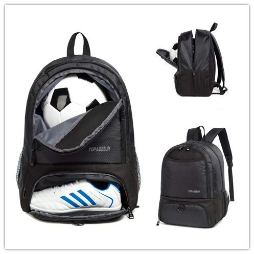 Volleyball /& Football Sports Net Bag for Basketball Fit Most Backpack Black Soccer BUMOVE Backpacks Ball Holder
