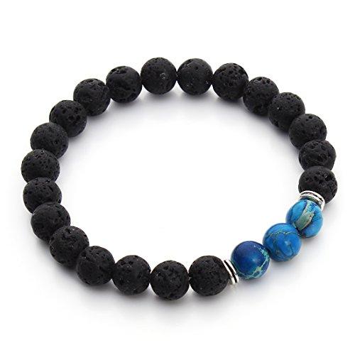 Linsoir Beads Sea Sediment Jasper and Black Lava Rock Essential Oil Diffusing Stretch Bracelet - Blue Jasper