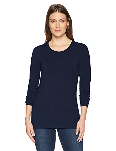 Amazon Essentials Women's Classic-Fit Long-Sleeve Crewneck T-Shirt, Navy, XX-Large ()