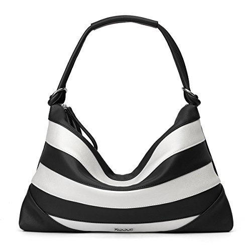 (Kadell Women Leather Vintage Shoulder Handbags Totes Top Handle Bags Satchel Purses Black and White)