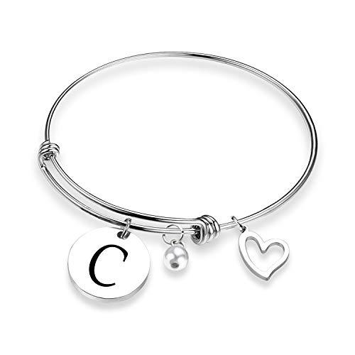 EIGSO Initial Bracelet Letter Bracelet with Heart Charm Memory Bracelet Jewelry Gift for her (BR- C) ... (Initial Heart Letter Charm)
