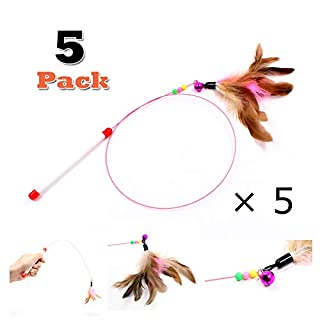 Cat Feather Toy, Cat Toys Wand, Bundle of 5 Pack Interactive Pet Cat Kitten Chaser Teaser Wire Wand with Bell Beads for Cat Exercise Play Fun Gifts - Wholesale