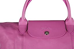 Longchamp women\'s leather handbag shopping bag purse pink