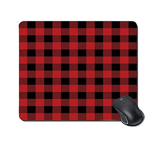Red Plaid Durable Mouse Pad,Lumberjack Clothing Inspired Square Pattern Checkered Grid Style Quilt Design for Office Home,9.4