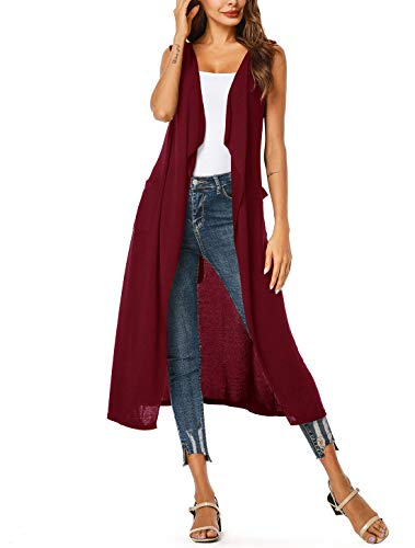 (UUANG Women's Plus Size Sleeveless Draped Open Front Flyaway Cardigan Vest Belted (Wine)