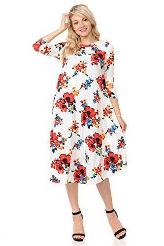 iconic luxe Women's A-Line Swing Trapeze Midi Dress Large Floral Ivory Red