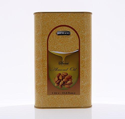 Hemani 100% Natural Sweet Almond Oil - Cold Pressed - 1 Liter (1000ml) by Hemani