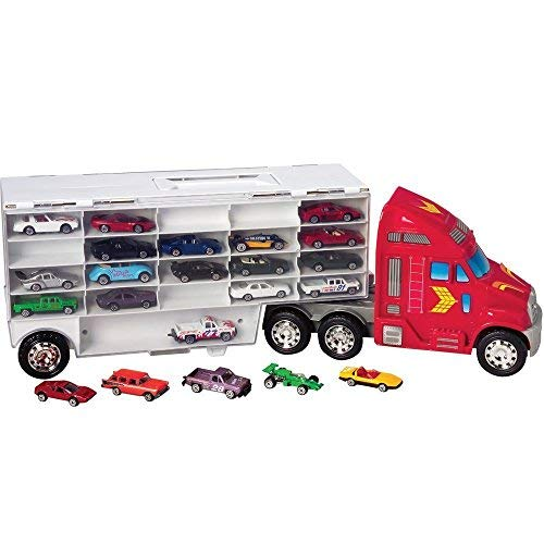 (44 Cars Storage Case Rig Carrier - Fits 1 64 Die Cast Model Cars of all Brands in Functional Hauler Truck Toy)