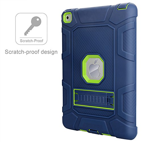 iPad Air 2 Case, WORLDMOM [Hybrid Shockproof Case] with KickStand Support Rugged Triple-Layer Heavy Duty Shock Resistant Drop Proof Case Cover for iPad Air 2 with Retina Display/iPad 6,Blue/Green by WORLDMOM (Image #6)