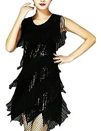 Women's Crew Neck Sequins Tiered Tassels Latin Dance Dress Ballroom Skirt Standard Party Dress