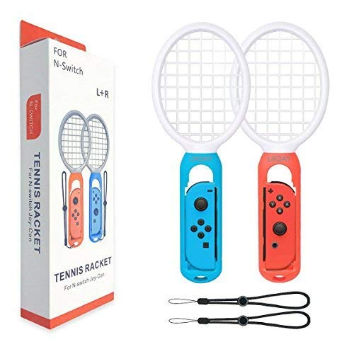 Tennis Racket for Nintendo Switch - LIKDAY Tennis Racket for Nintendo Switch Joy-Con Better Fit Mario Tennis Aces Game (2 Packs)(1X Blue & 1X Red ) by LIKDAY