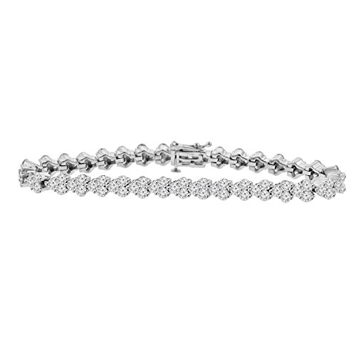 8.51 ct Ladies Round Cut Diamond Tennis Bracelet in ( Color G Clarity SI-1 ) in 14 Kt White Gold