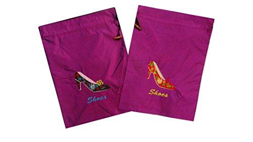 Seide Satin Tasche Gym schuh Tasche mit Kordelzug Schließung bestickt Schuh Muster on-light lila erOXrnD4e