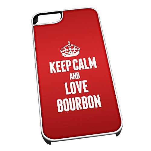 Bianco per iPhone 5/5S 0849 Rosso Keep Calm And Love Bourbon