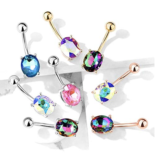 Covet Jewelry AB Effect Prong Set Oval Crystal 316L Surgical Steel Belly Button Navel Rings (Gold/Aurora Borealis)