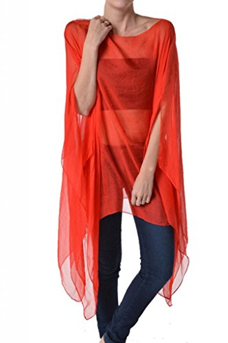 Womens Fashion Shawl Scarf Poncho Kimono Caftan Faux Silk Red One Size Tunic Top