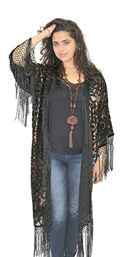 Women's Burnout Silk Fringe Duster Jacket Festive Topper Boho Chic (One Size ()